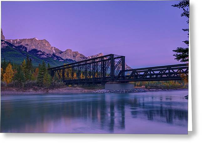 Canmore Engine Bridge On Bow River Greeting Card