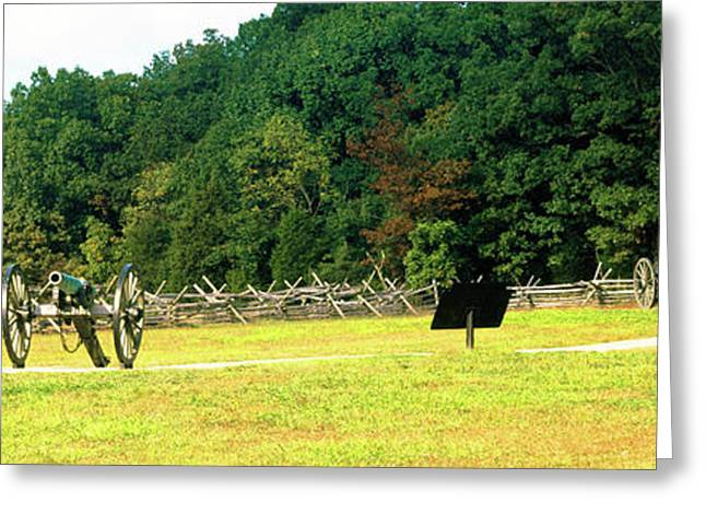 Cannons At Gettysburg National Military Greeting Card by Panoramic Images