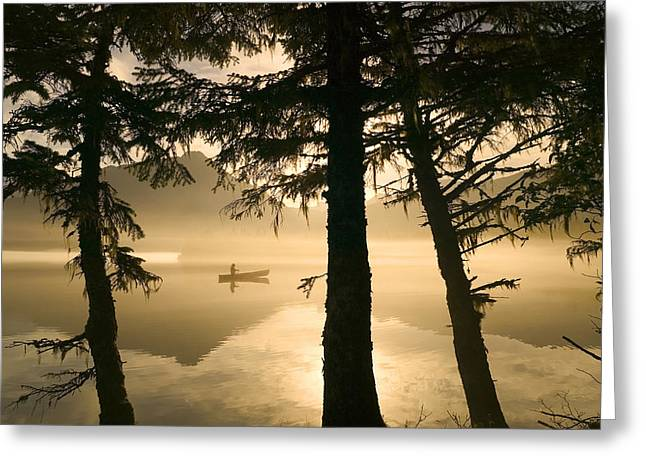 Canoeist On Mendenhall Lake In Morning Greeting Card by Michael DeYoung