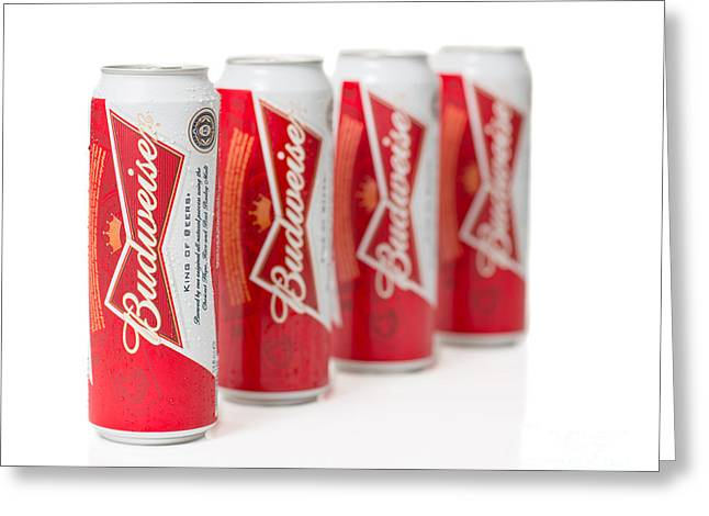 Cans Of Budweiser Beer Greeting Card by Amanda Elwell