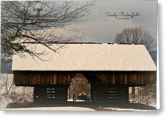 Cantilever Barn Greeting Card by Sandy Baskeyfield