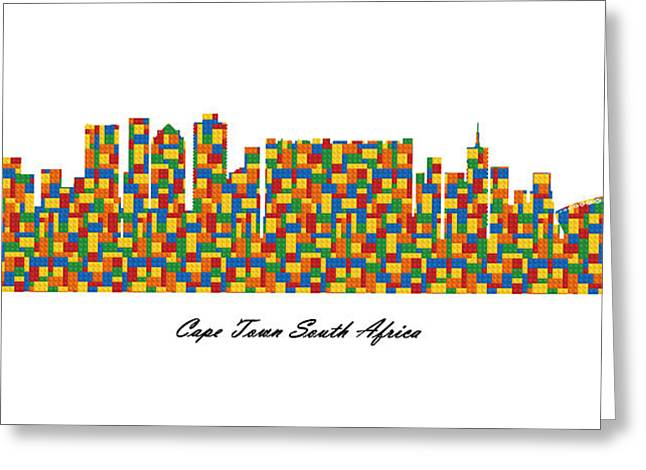 Cape Town South Africa Building Blocks Skyline Greeting Card