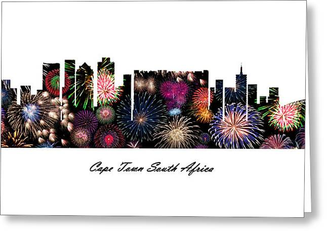 Cape Town South Africa Fireworks Skyline Greeting Card