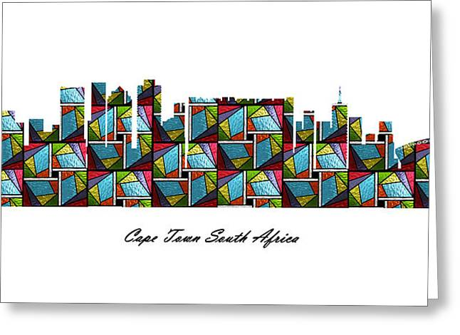 Cape Town South Africa Stained Glass Skyline Greeting Card