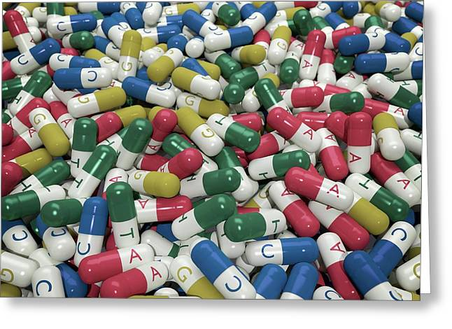 Capsules Labelled With Bases Of Dna Greeting Card by Robert Brook