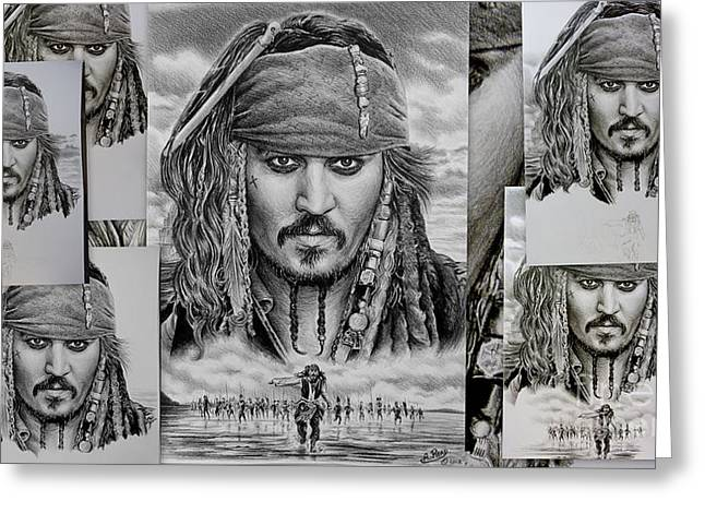Captain Jack Sparrow Greeting Card by Andrew Read