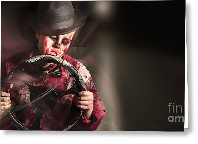 Car Crash Driver Dead Behind The Steering Wheel Greeting Card by Jorgo Photography - Wall Art Gallery