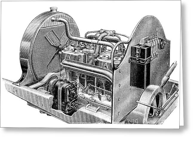 Car Engine And Magneto Greeting Card