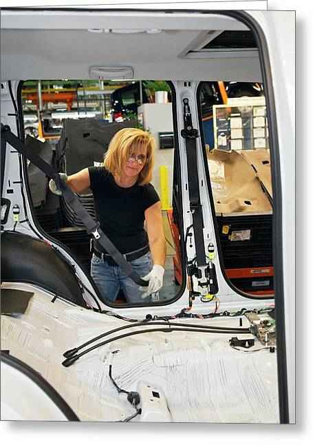 Car Production Assembly Line Greeting Card