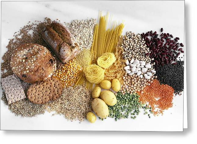 Carbohydrate-containing Foods Greeting Card by Science Photo Library