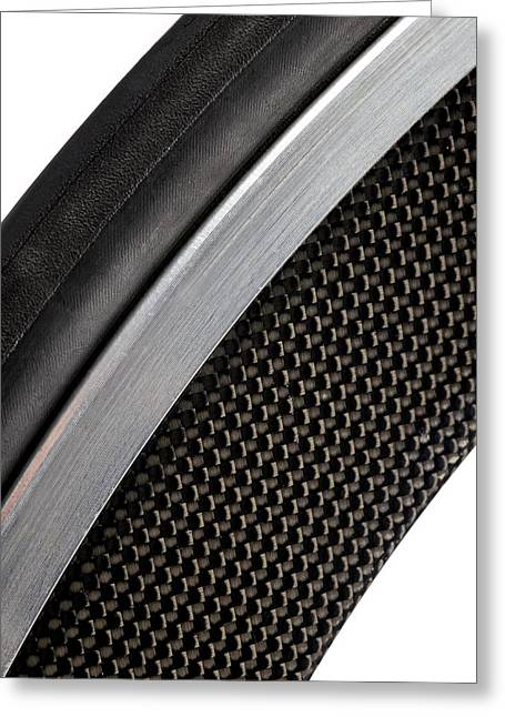Carbon Fibre Bicycle Wheel Greeting Card by Science Photo Library