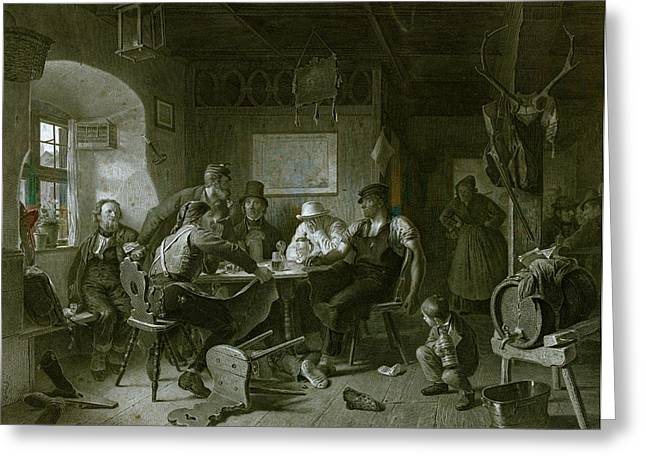 Card Game, Germany, Everyday Life, Interior, Figures, Men Greeting Card by German School