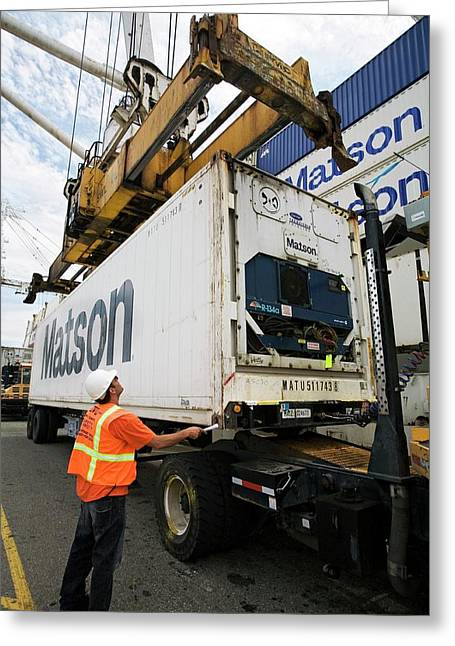 Cargo Container Being Loaded Greeting Card by Jim West