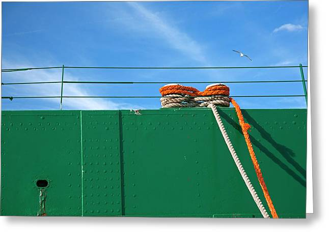 Cargo Ship Mooring Line Greeting Card by Jim West