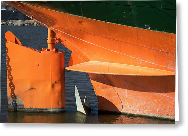 Cargo Ship Rudder Greeting Card by Jim West