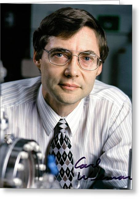 Carl Wieman Greeting Card by Emilio Segre Visual Archives/american Institute Of Physics