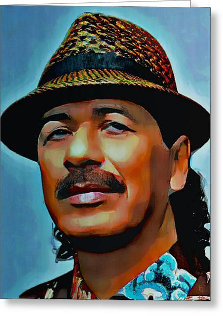 Carlos Santana Greeting Card by  Fli Art