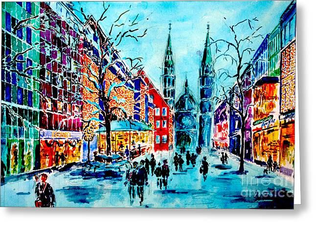 Greeting Card featuring the painting Carolines Shopping Street by Alfred Motzer