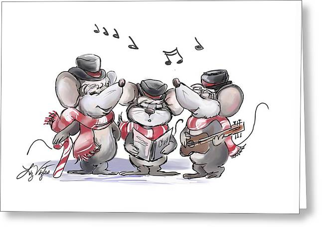 Caroling With Mic Mac And Moe Greeting Card