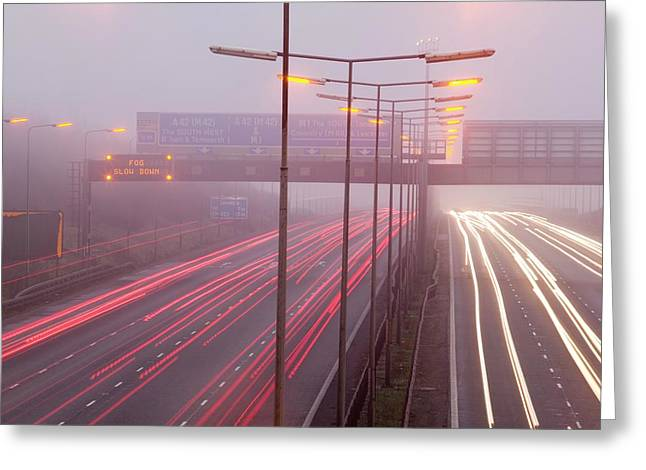 Cars Driving On The M1 Motorway Greeting Card by Ashley Cooper