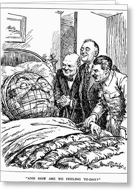 Cartoon: Big Three, 1945 Greeting Card