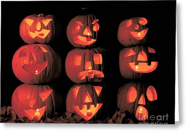 Carved Pumpkins Greeting Card by Jim Corwin
