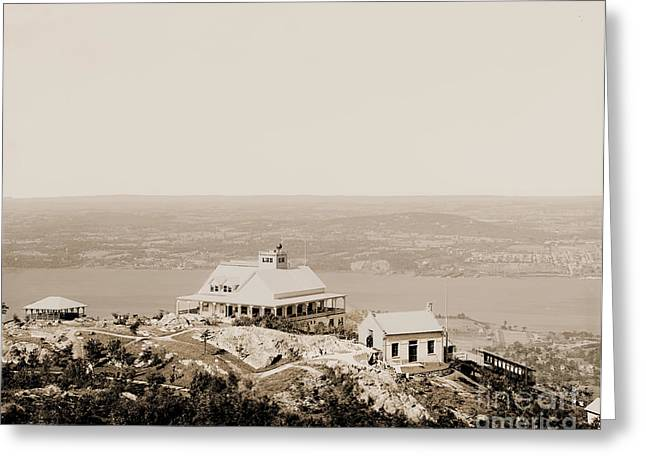 Casino At The Top Of Mt Beacon In Sepia Tone Greeting Card