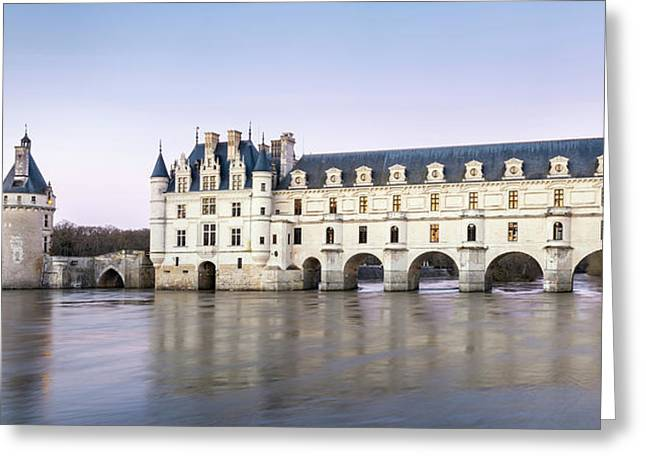 Castle Over A River, Chateau De Greeting Card