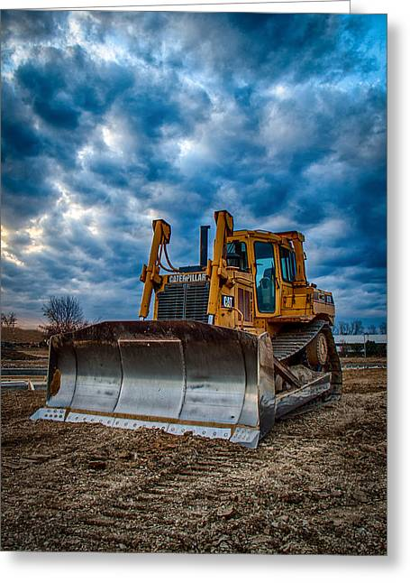 Cat Bulldozer Greeting Card