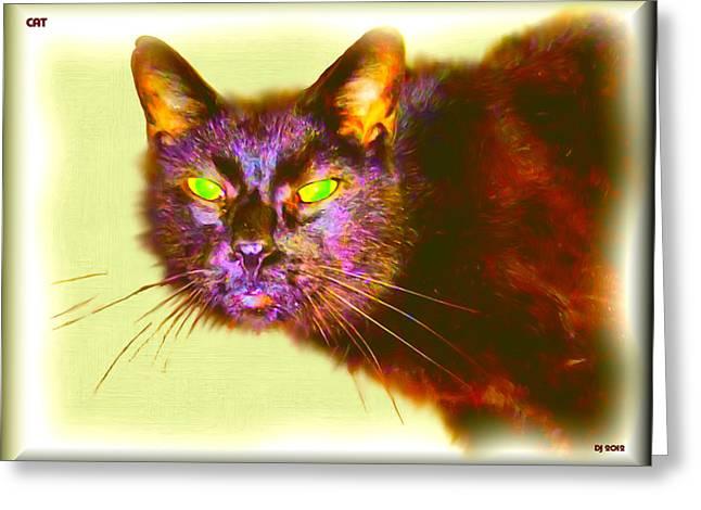 Greeting Card featuring the digital art Cat by Daniel Janda
