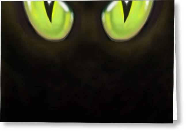 Cat Eyes Greeting Card by Kevin Middleton