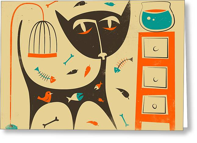 Cat Greeting Card by Jazzberry Blue