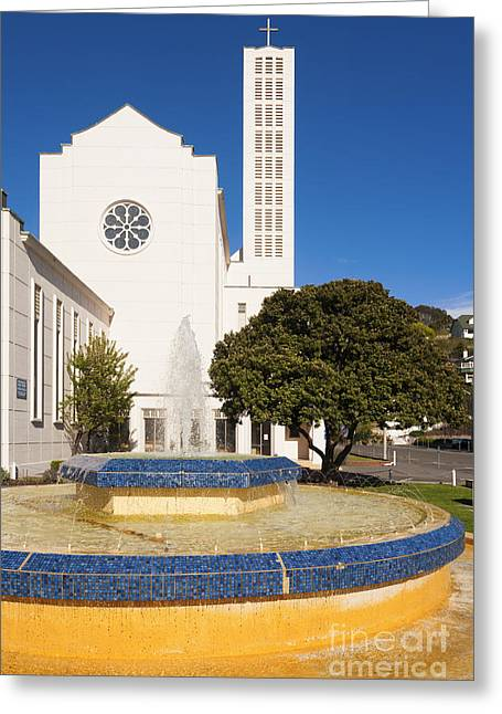 Cathedral And Tait Fountain Napier New Zealand Greeting Card by Colin and Linda McKie