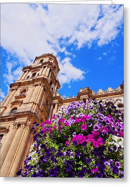 Cathedral In Malaga Greeting Card by Karol Kozlowski