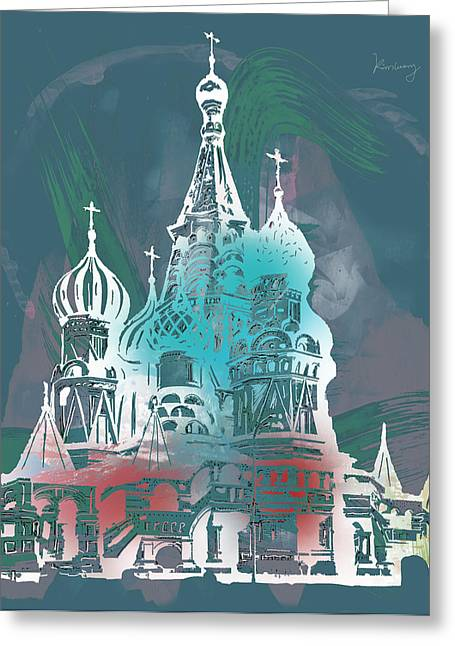 Cathedral Of St Basil  Kremlin Moscow  - Pop Stylised Art Poster  Greeting Card by Kim Wang