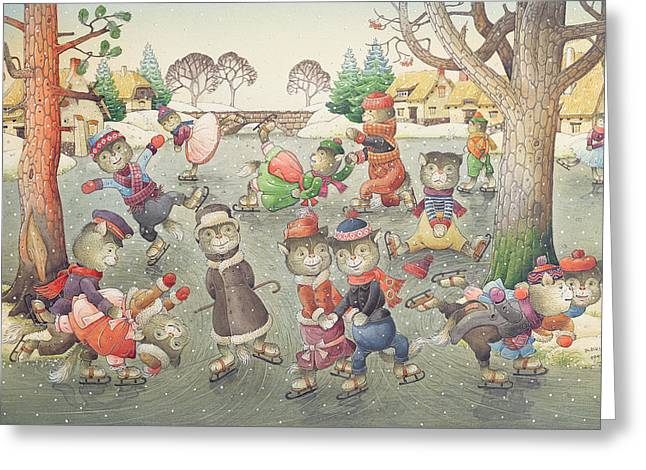 Cats On Skates Greeting Card by Kestutis Kasparavicius