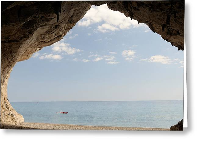 Cave On The Cala Luna Beach, Cala Greeting Card