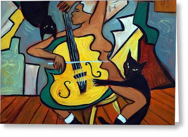 Cellist With Cats Greeting Card by Valerie Vescovi
