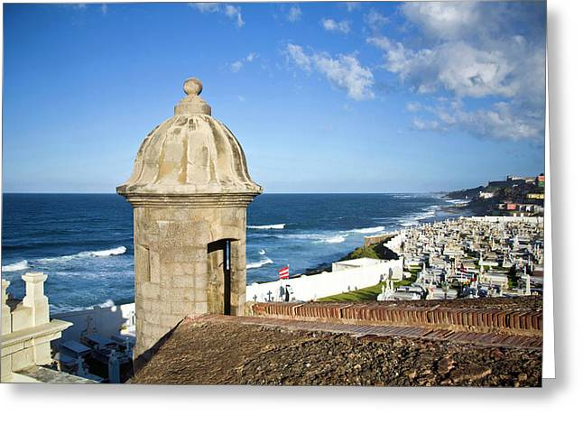Cemetery And La Perla From El Morro Greeting Card by Miva Stock