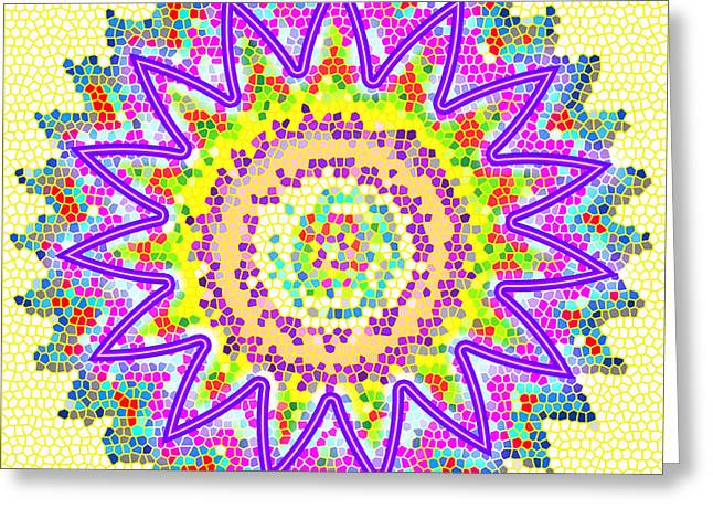 Chakra Energy  Mandala Ancient Healing Meditation Tool Stained Glass Pixels  Live Spinning Wheel  Greeting Card