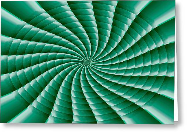 Chakra Wave Fan Movement Radial Round Wheel Match Wall Art Theme Green Artist Created Green Shade St Greeting Card