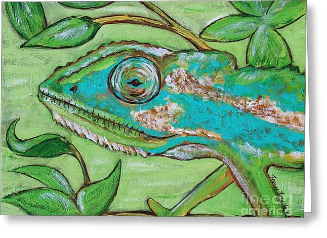 Chameleon Hitching A Ride Greeting Card