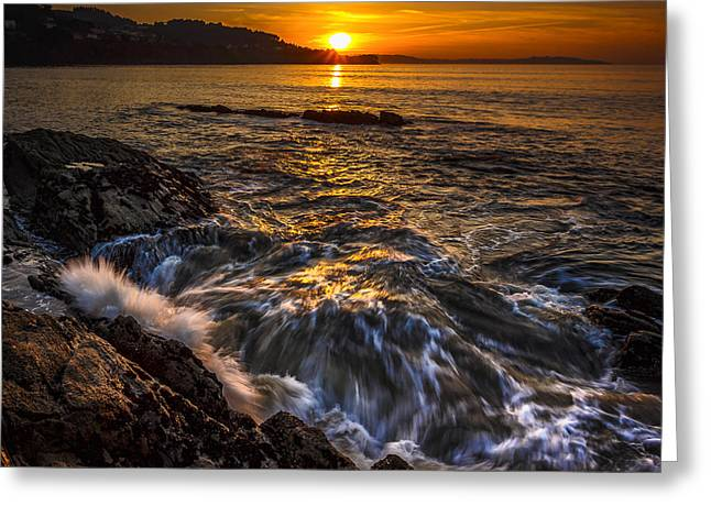 Chamoso Point In Ares Estuary Galicia Spain Greeting Card