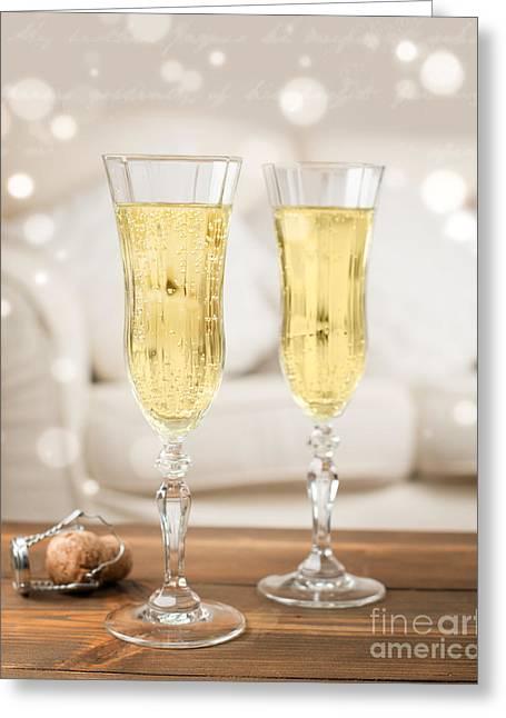 Champagne Celebration Greeting Card by Amanda Elwell