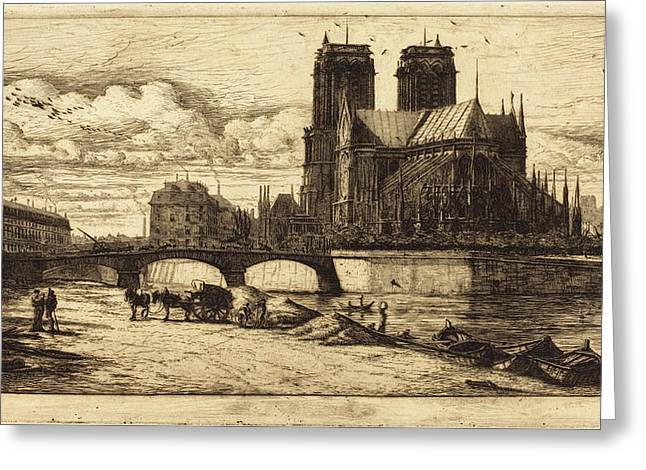 Charles Meryon French, 1821 - 1868, Labside De Notre-dame Greeting Card