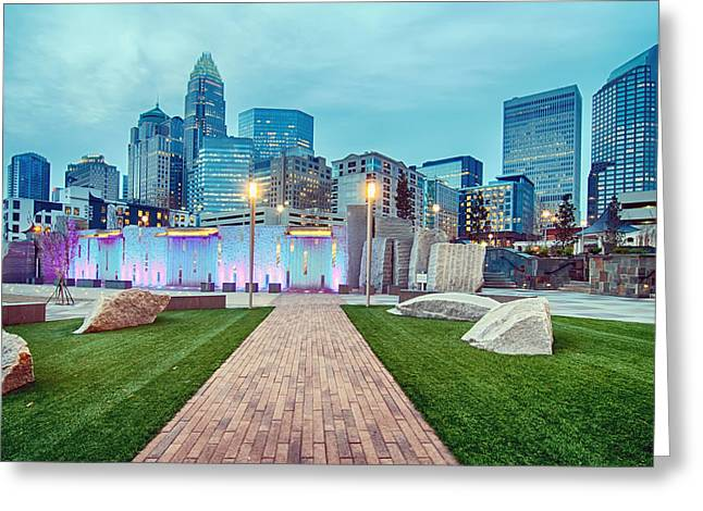 Charlotte City Skyline In The Evening Greeting Card by Alex Grichenko