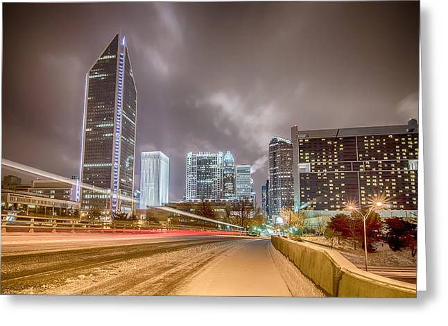 Charlotte Nc Usa Skyline During And After Winter Snow Storm In January Greeting Card by Alex Grichenko