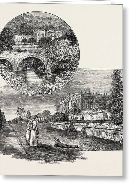 Chatsworth House Is A Stately Home In North Derbyshire Greeting Card by English School