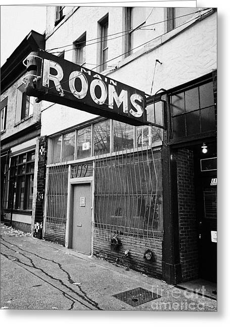 cheap run down hotel rooms on lower main street and hastings downtown eastside Vancouver BC Canada Greeting Card