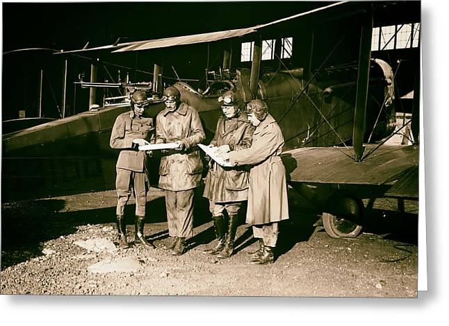 Checking Flight Plans 1920 Greeting Card